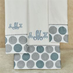 Dotted Circles Bath Towel Set Off White Bath Hand Fingertip