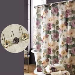 Carlyon Semi Sheer Shower Curtain Multi Warm 70 x 72