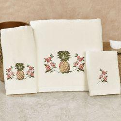 Pina Colada Bath Towel Set Ivory Bath Hand Fingertip
