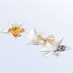 Starfish Triple Dip Server and Spreader White Two Piece Set