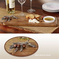 Olive Serving Board and Dip Bowl Brown Two Piece Set