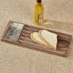 Olive Bread Board and Dip Dish Brown Two Piece Set