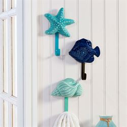 Jewels of the Sea Wall Hooks Multi Cool Set of Three