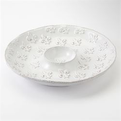 Fleur de Lis Chip and Dip Bowl White