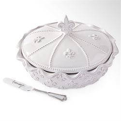Fleur de Lis Brie Baker with Spreader White Three Piece Set