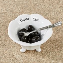 Circa Black Olive Condiment Cup and Cocktail Fork White 2 Piece Set