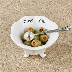 Circa Green Olive Condiment Cup and Spoon White 2 Piece Set