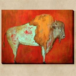 Red Buffalo Canvas Wall Art Multi Warm