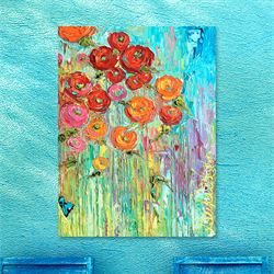 Poppies No 6 Canvas Wall Art Multi Bright
