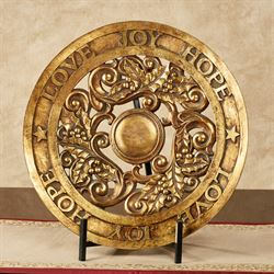 Love Joy Hope Gold Decorative Charger with Stand