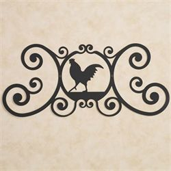 Rooster Over the Door Plaque Black