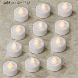 Ava LED Flameless Tealight Candles White Set of Twelve