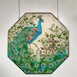Resplendent Peacock Window Art Panel Multi Jewel