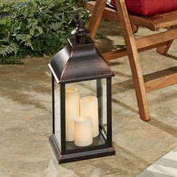 Beacon Hill Flameless LED Candle Lantern Antique Copper