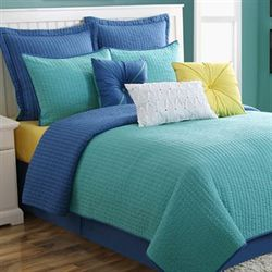 Dash Turquoise Blue Coverlet Set
