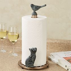 Cat and Bird Paper Towel Holder Antique Gold