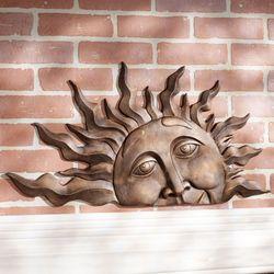 Half Sun Face Wall Plaque Art Gold