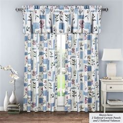Floralescent Tailored Curtain Panel Blue