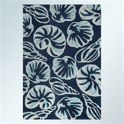 Conch Seashell Rectangle Rug Midnight Blue