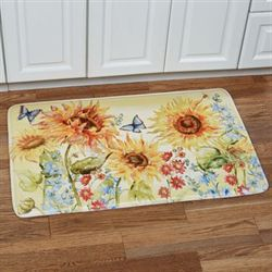 Watercolor Sunflowers Cushioned Rectangle Mat Multi Bright 36 x 23