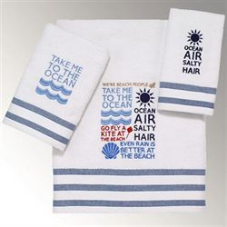 Beach Words Bath Towel Set Off White Bath Hand Fingertip