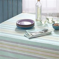 French Perle Stripe Tablecloth Celadon