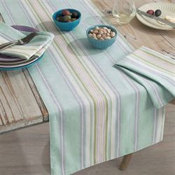 French Perle Stripe Table Runner Celadon