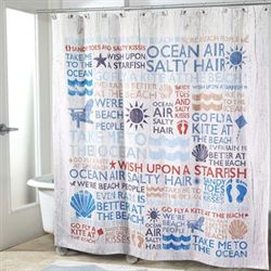 Beach Words Shower Curtain Off White 72 x 72
