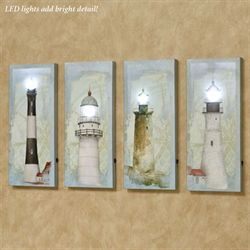 Coastal Lighthouse LED Lighted Canvas Wall Art Set