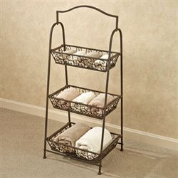 Tiered Basket Storage Rack Antique Bronze