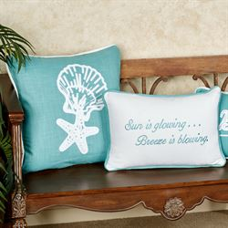 Starfish and Shell Decorative Pillow Turquoise 18 Square