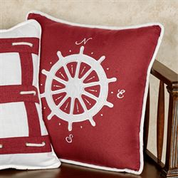 Nautical Sailboat Decorative Pillow Red 18 Square