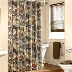 Mountain View Shower Curtain Multi Warm 72 x 72