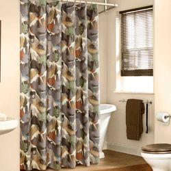 Mountain View Shower Curtain Multi Warm 72 x 72