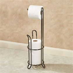 Tiara Toilet Paper Holder Floor Stand Black Chrome