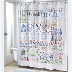 Lake Words Shower Curtain Ivory 72 x 72