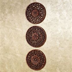 Floral Medallion Wall Plaques  Set of Three