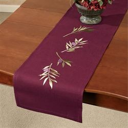Olive Embroidered Table Runner Plum 13 x 60
