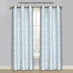 Duchess Grommet Curtain Pair Aqua Mist