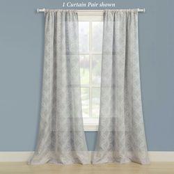 Chancery Semi Sheer Curtain Pair Silver Gray 80 x 84