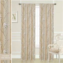 Pussy Willow Curtain Pair Dark Beige 80 x 84