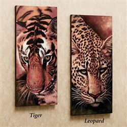 Tiger and Leopard Canvas Art Set  Set of Two