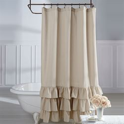 Vintage Ruffle Shower Curtain Natural 72 x 72