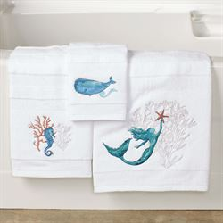 Sea Splash Bath Towel Set White Bath Hand Fingertip