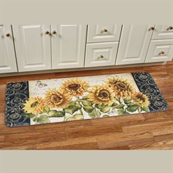 French Sunflower Cushioned Runner Mat Multi Bright 55 x 20