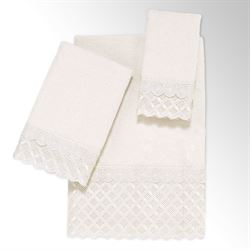 Eyelet Scalloped Bath Towel Set Ivory Bath Hand Fingertip