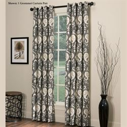 Salazar Wide Grommet Curtain Pair Charcoal 100 x 84