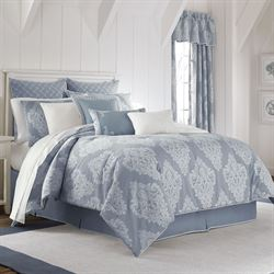 Ansonia Damask Comforter Set Denim