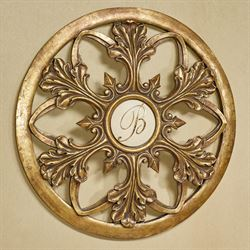 Monogram Acanthus Leaf Wall Art Antique Gold