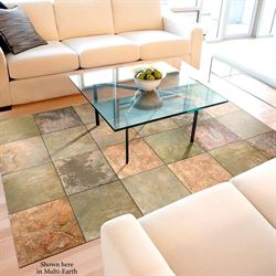 Faux Tile Extra Large Floor Mat Multi Earth 66 X 46